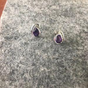 14K white gold amethyst  earrings with diamonds
